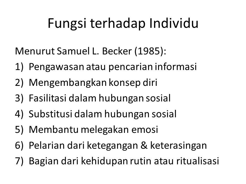 Fungsi terhadap Individu Menurut Samuel L. Becker (1985): 1)Pengawasan atau pencarian informasi 2)Mengembangkan konsep diri 3)Fasilitasi dalam hubunga