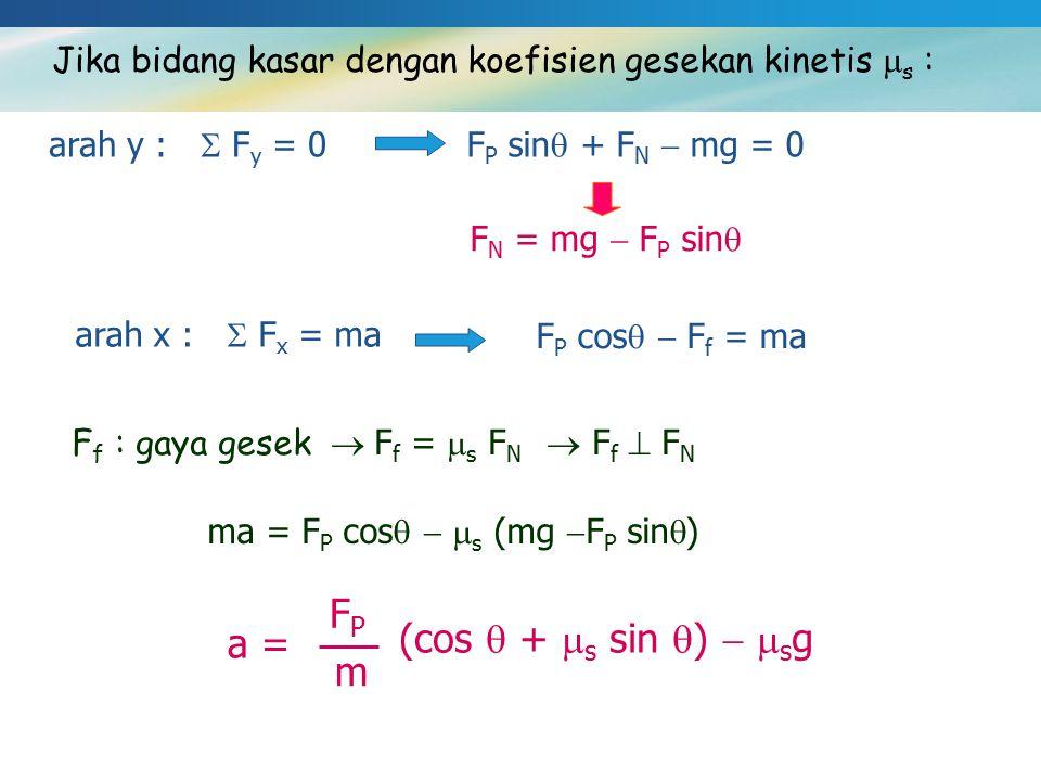 Jika bidang kasar dengan koefisien gesekan kinetis  s : arah y :  F y = 0F P sin  + F N  mg = 0 F N = mg  F P sin  arah x :  F x = ma F P cos 