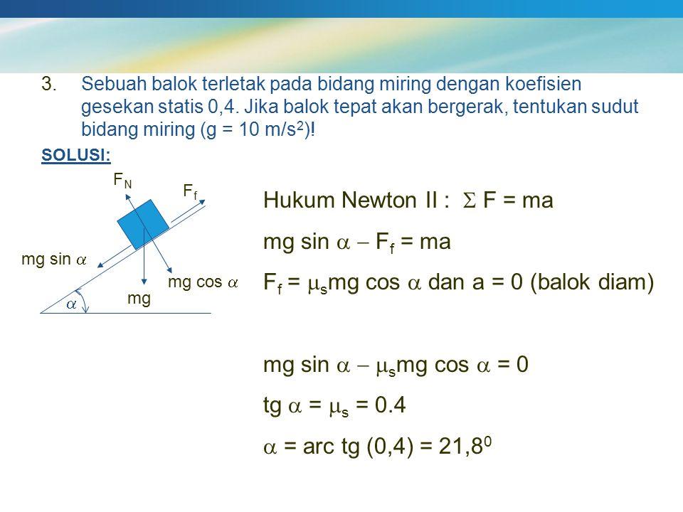 3.Sebuah balok terletak pada bidang miring dengan koefisien gesekan statis 0,4. Jika balok tepat akan bergerak, tentukan sudut bidang miring (g = 10 m