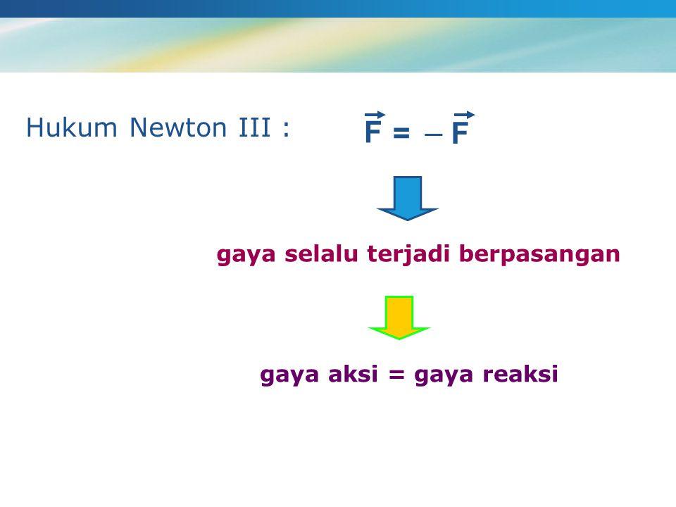 gaya selalu terjadi berpasangan Hukum Newton III : F =  F gaya aksi = gaya reaksi