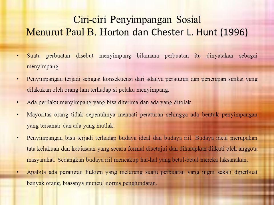 Ciri-ciri Penyimpangan Sosial Menurut Paul B.Horton dan Chester L.