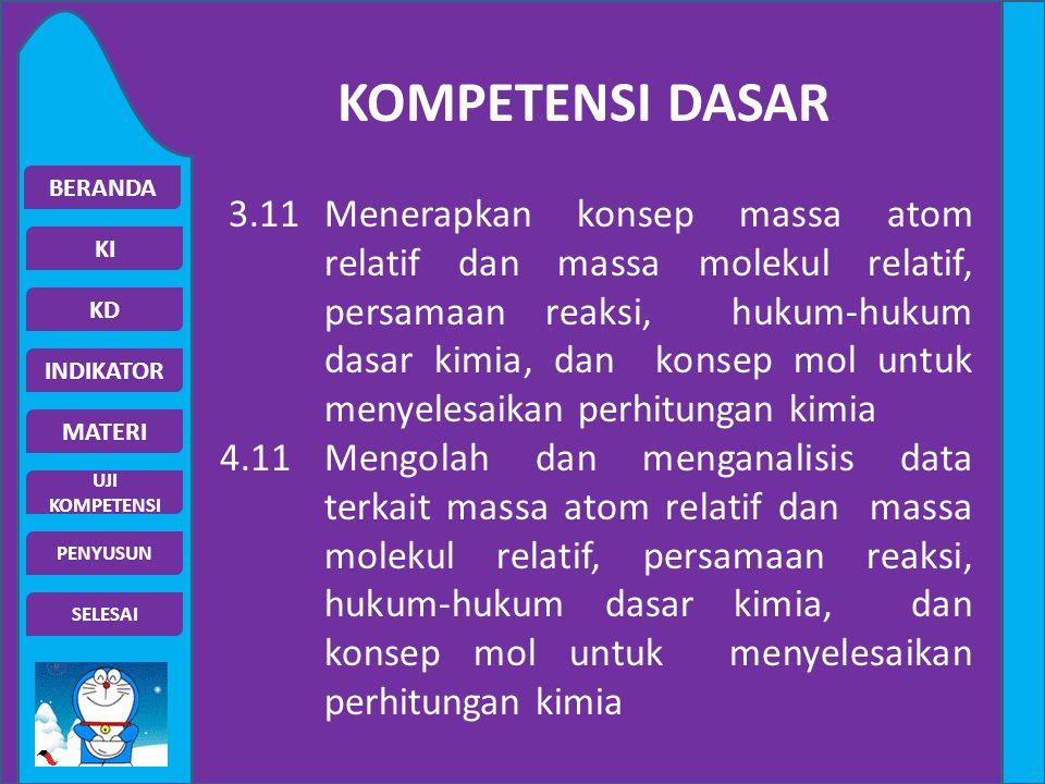 BERANDA KI UJI KOMPETENSI MATERI INDIKATOR KD SELESAI PENYUSUN KOMPETENSI DASAR 3.11 Menerapkan konsep massa atom relatif dan massa molekul relatif, p