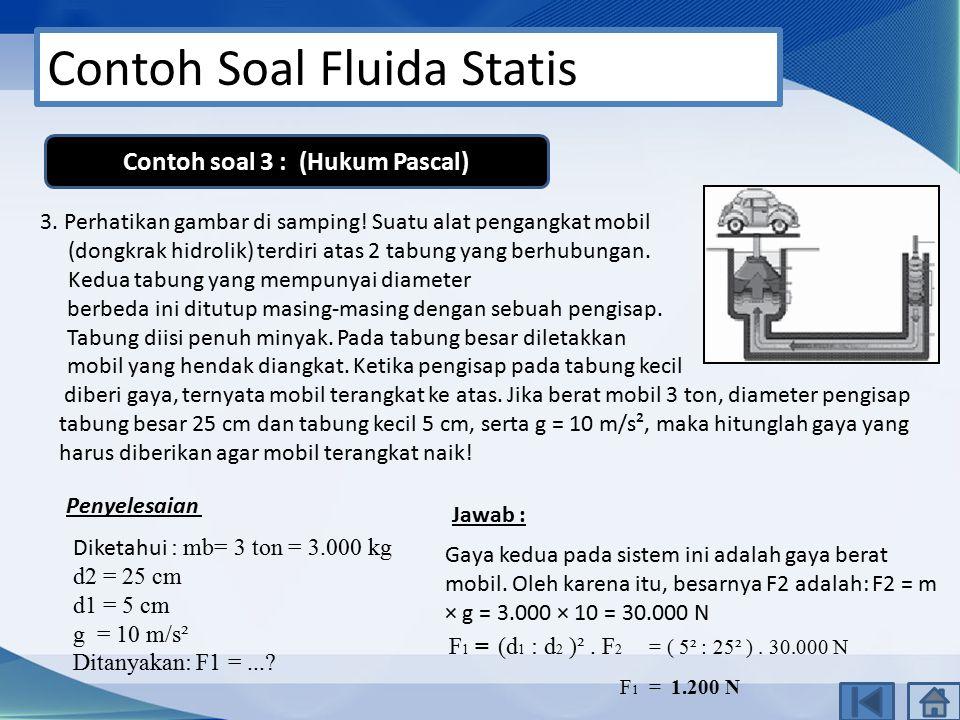 Contoh Soal Fluida Statis 3. Perhatikan gambar di samping! Suatu alat pengangkat mobil (dongkrak hidrolik) terdiri atas 2 tabung yang berhubungan. Ked