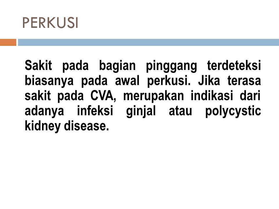 PERKUSI Sakit pada bagian pinggang terdeteksi biasanya pada awal perkusi. Jika terasa sakit pada CVA, merupakan indikasi dari adanya infeksi ginjal at