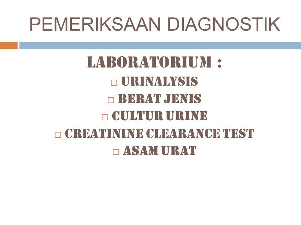 PEMERIKSAAN DIAGNOSTIK Laboratorium :  Urinalysis  BERAT JENIS  CULTUR Urine  Creatinine clearance test  ASAM URAT
