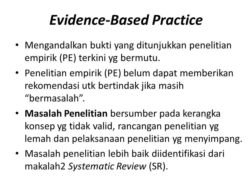 Evidence-Based Practice Mengandalkan bukti yang ditunjukkan penelitian empirik (PE) terkini yg bermutu. Penelitian empirik (PE) belum dapat memberikan