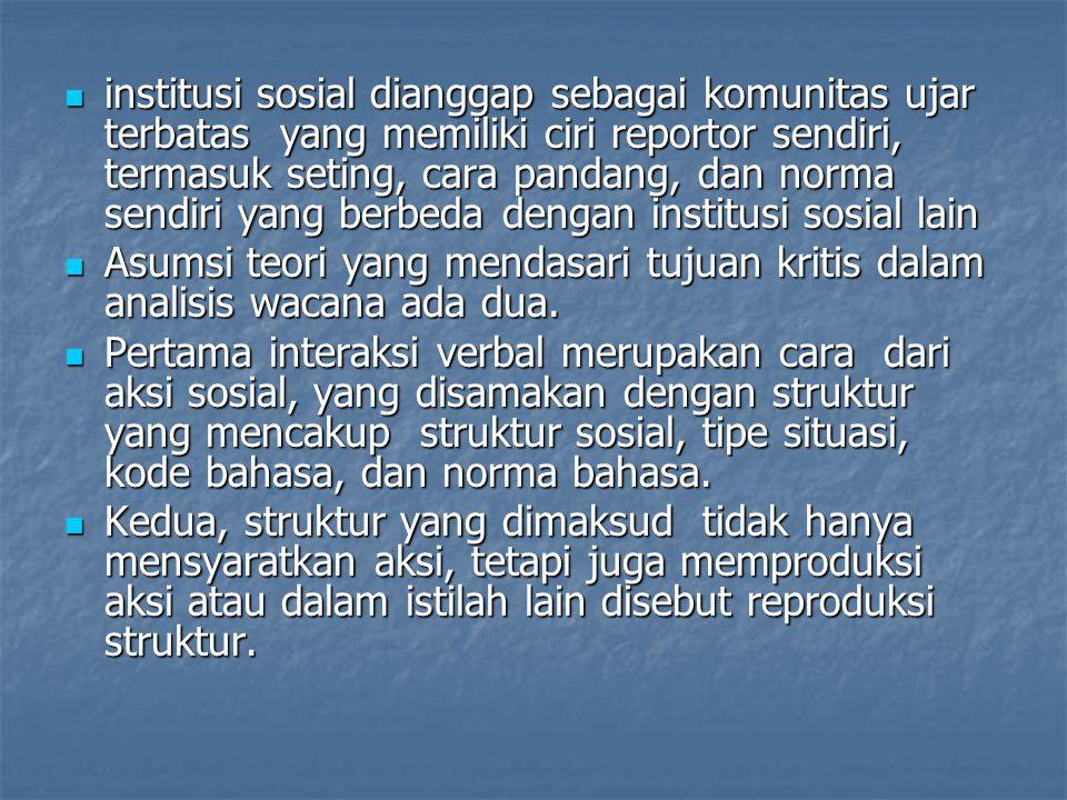 institusi sosial dianggap sebagai komunitas ujar terbatas yang memiliki ciri reportor sendiri, termasuk seting, cara pandang, dan norma sendiri yang b