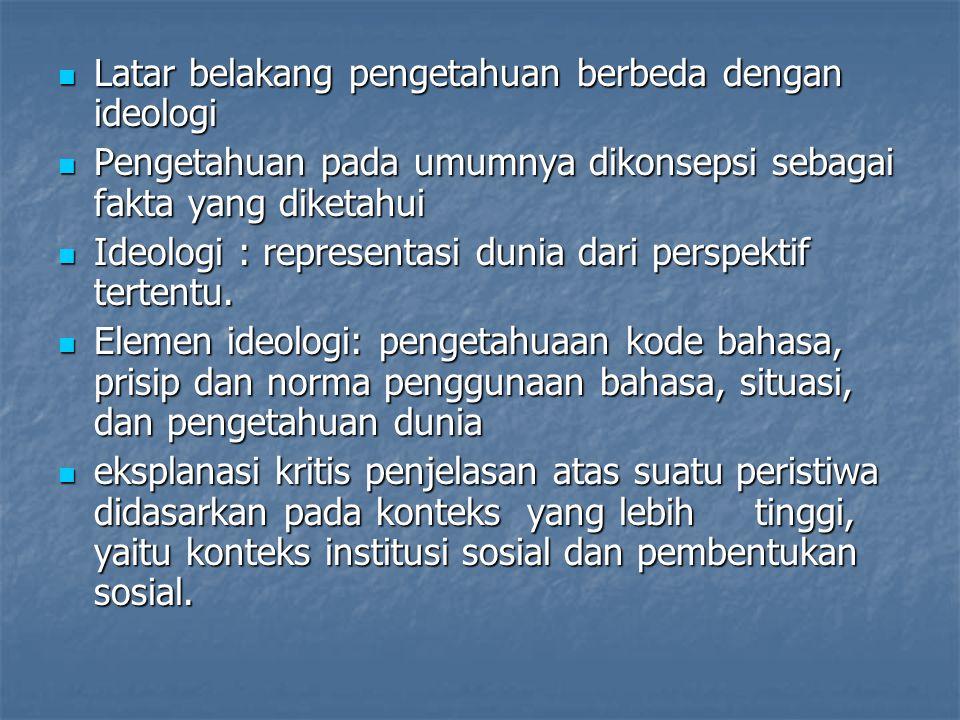 Latar belakang pengetahuan berbeda dengan ideologi Latar belakang pengetahuan berbeda dengan ideologi Pengetahuan pada umumnya dikonsepsi sebagai fakta yang diketahui Pengetahuan pada umumnya dikonsepsi sebagai fakta yang diketahui Ideologi : representasi dunia dari perspektif tertentu.