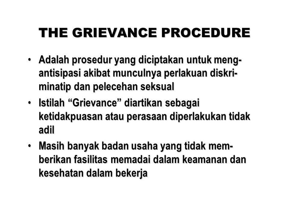 THE GRIEVANCE PROCEDURE Adalah prosedur yang diciptakan untuk meng- antisipasi akibat munculnya perlakuan diskri- minatip dan pelecehan seksual Adalah prosedur yang diciptakan untuk meng- antisipasi akibat munculnya perlakuan diskri- minatip dan pelecehan seksual Istilah Grievance diartikan sebagai ketidakpuasan atau perasaan diperlakukan tidak adil Istilah Grievance diartikan sebagai ketidakpuasan atau perasaan diperlakukan tidak adil Masih banyak badan usaha yang tidak mem- berikan fasilitas memadai dalam keamanan dan kesehatan dalam bekerja Masih banyak badan usaha yang tidak mem- berikan fasilitas memadai dalam keamanan dan kesehatan dalam bekerja