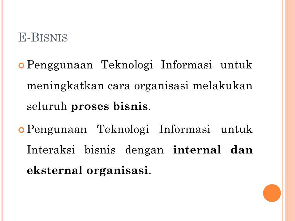 E-B ISNIS Penggunaan Teknologi Informasi untuk meningkatkan cara organisasi melakukan seluruh proses bisnis. Pengunaan Teknologi Informasi untuk Inter