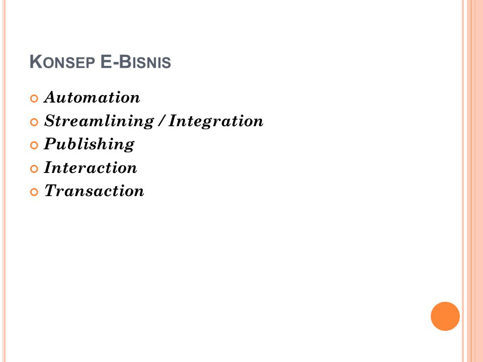 K ONSEP E-B ISNIS Automation Streamlining / Integration Publishing Interaction Transaction
