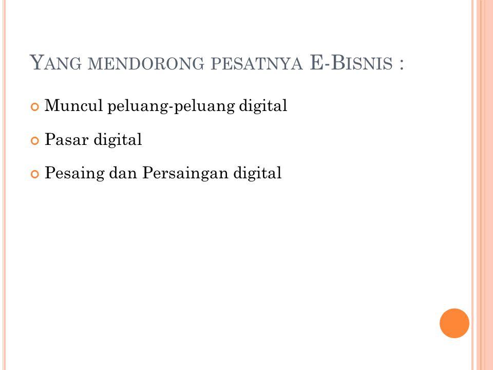 Y ANG MENDORONG PESATNYA E-B ISNIS : Muncul peluang-peluang digital Pasar digital Pesaing dan Persaingan digital