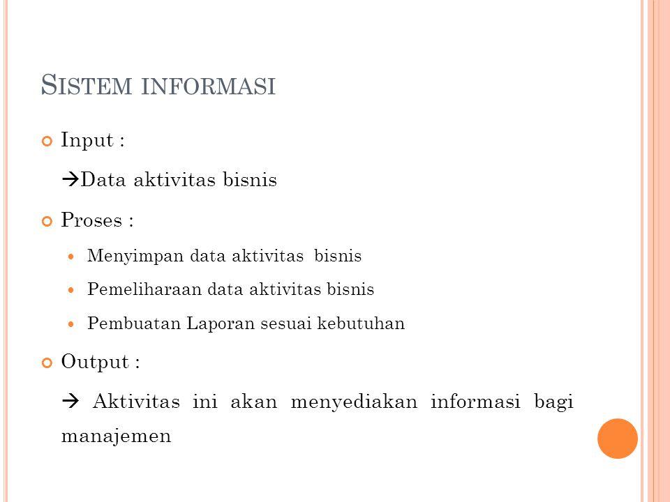 S ISTEM INFORMASI Input :  Data aktivitas bisnis Proses : Menyimpan data aktivitas bisnis Pemeliharaan data aktivitas bisnis Pembuatan Laporan sesuai
