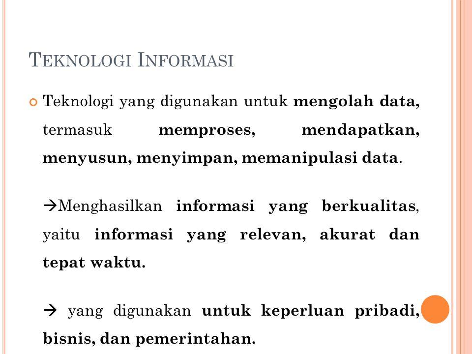 T EKNOLOGI I NFORMASI Teknologi yang digunakan untuk mengolah data, termasuk memproses, mendapatkan, menyusun, menyimpan, memanipulasi data.  Menghas