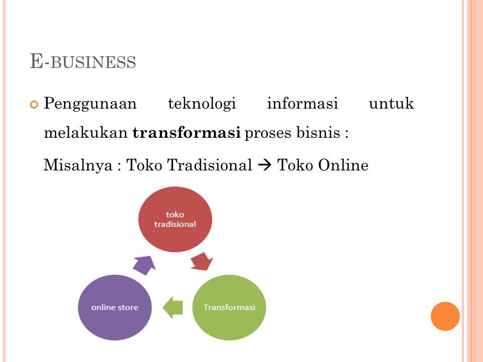E- BUSINESS Penggunaan teknologi informasi untuk melakukan transformasi proses bisnis : Misalnya : Toko Tradisional  Toko Online