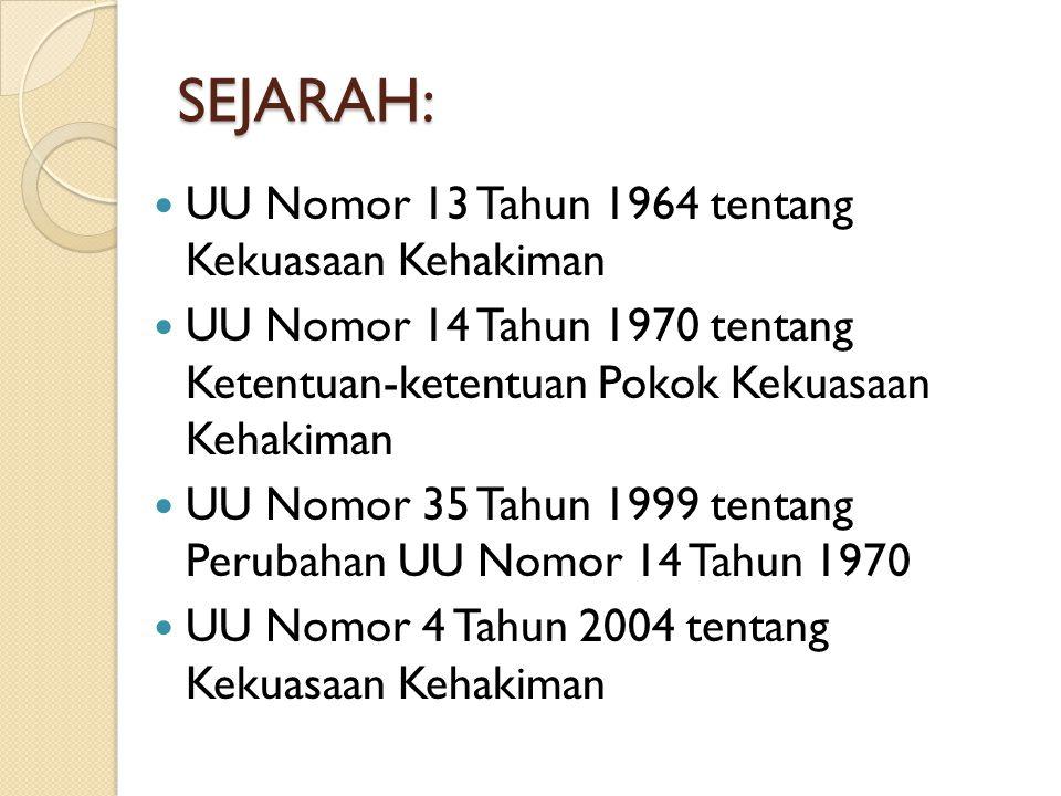 KEKUASAAN KEHAKIMAN DALAM UUD 45 Pasal 24 UUD 1945: Kekuasaan kehakiman adalah kekuasaan negara yang merdeka untuk menyelenggarakan peradilan guna menegakkan hukum dan keadilan berdasarkan Pancasila, demi terselenggaranya Negara Hukum Republik Indonesia.