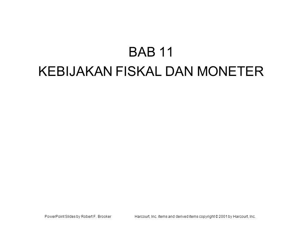 PowerPoint Slides by Robert F. BrookerHarcourt, Inc. items and derived items copyright © 2001 by Harcourt, Inc. BAB 11 KEBIJAKAN FISKAL DAN MONETER