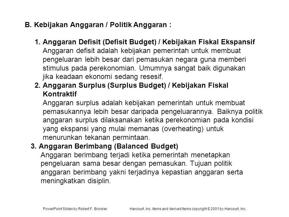 PowerPoint Slides by Robert F. BrookerHarcourt, Inc. items and derived items copyright © 2001 by Harcourt, Inc. B. Kebijakan Anggaran / Politik Anggar