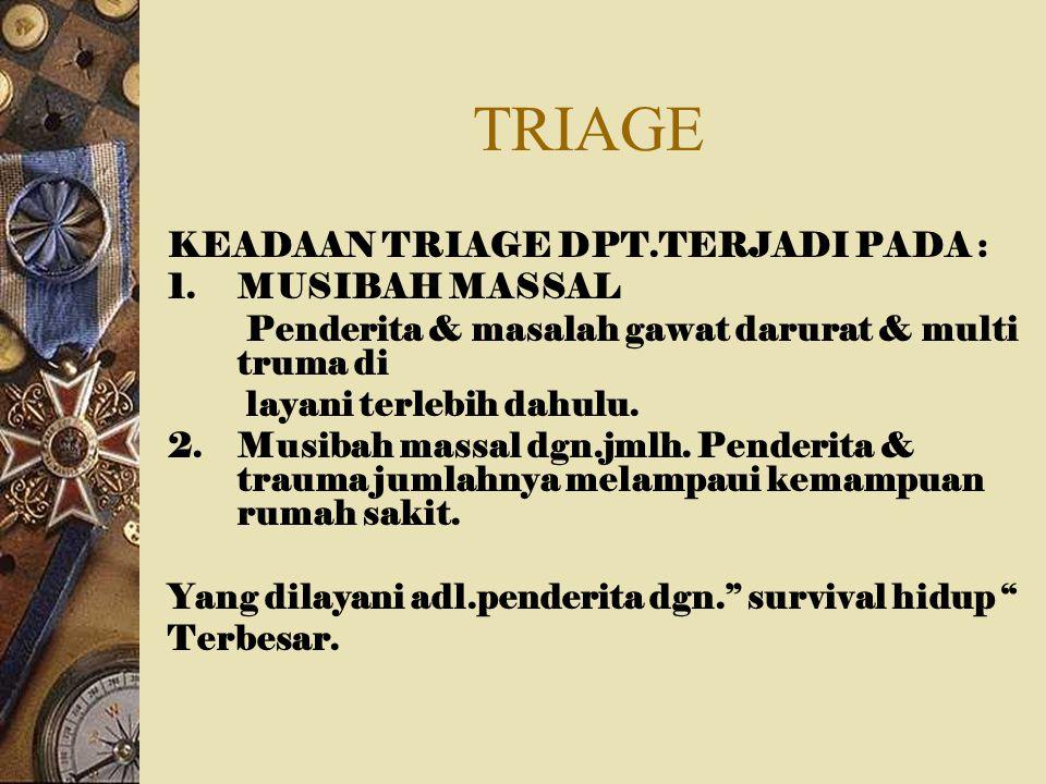 TRIAGE KEADAAN TRIAGE DPT.TERJADI PADA : 1.MUSIBAH MASSAL Penderita & masalah gawat darurat & multi truma di layani terlebih dahulu. 2.Musibah massal