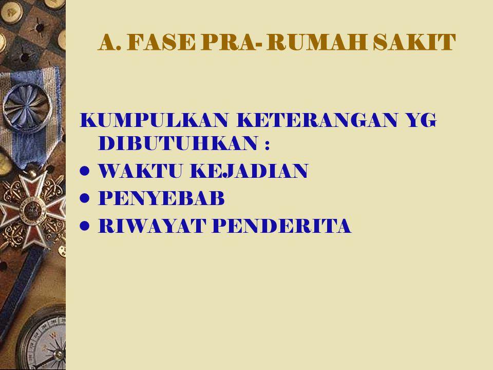 A. FASE PRA- RUMAH SAKIT KUMPULKAN KETERANGAN YG DIBUTUHKAN : WAKTU KEJADIAN PENYEBAB RIWAYAT PENDERITA