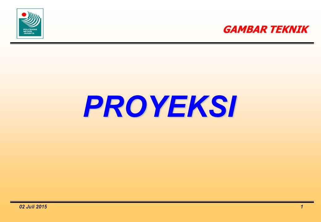 02 Juli 2015 2 Definisi Proyeksi  Proyeksi: Gambar bayangan Suatu benda yang dihasilkan dari pandangan terhadap benda tersebut dengan cara tertentu (arah pandang).
