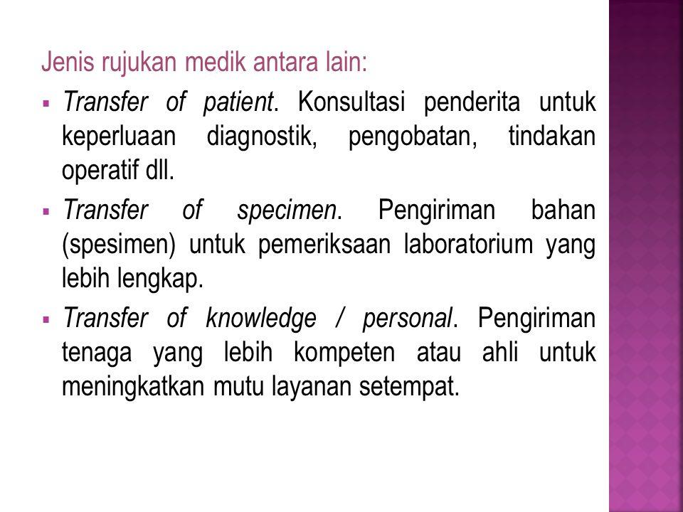 Jenis rujukan medik antara lain:  Transfer of patient.