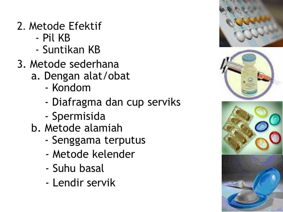2. Metode Efektif - Pil KB - Suntikan KB 3. Metode sederhana a.