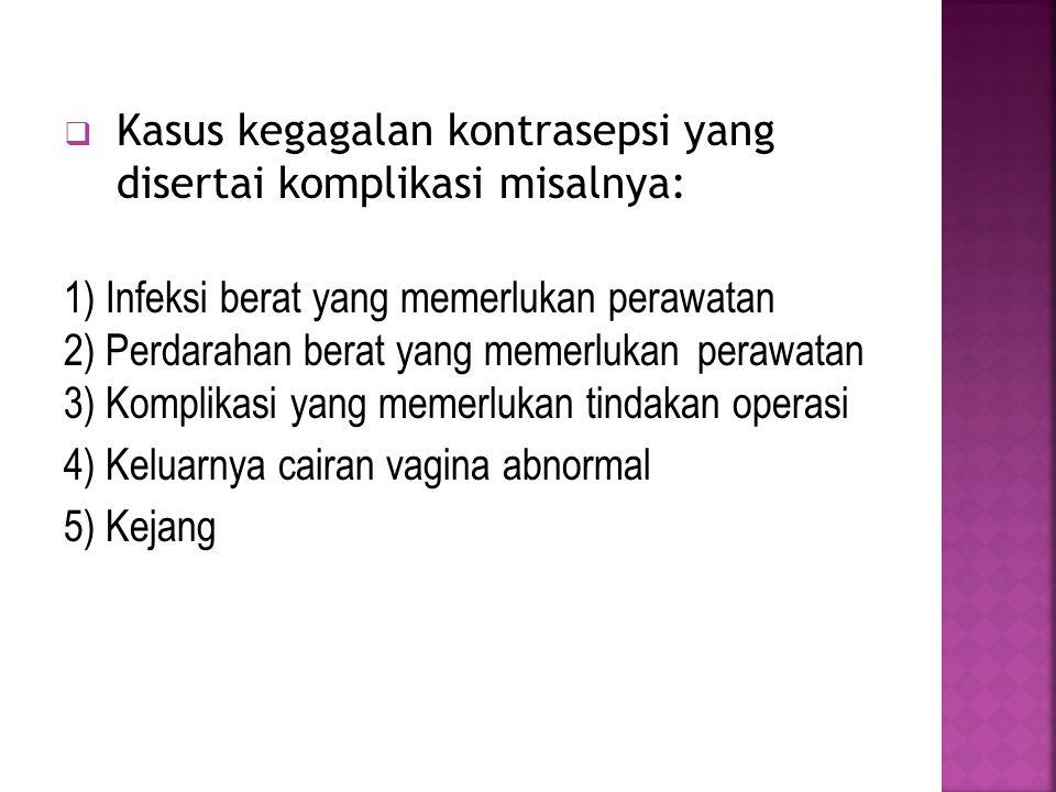  Kasus kegagalan kontrasepsi yang disertai komplikasi misalnya: 1) Infeksi berat yang memerlukan perawatan 2) Perdarahan berat yang memerlukan perawatan 3) Komplikasi yang memerlukan tindakan operasi 4) Keluarnya cairan vagina abnormal 5) Kejang