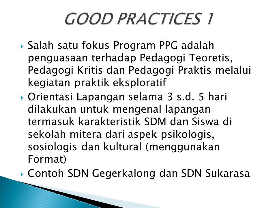  Salah satu fokus Program PPG adalah penguasaan terhadap Pedagogi Teoretis, Pedagogi Kritis dan Pedagogi Praktis melalui kegiatan praktik eksploratif
