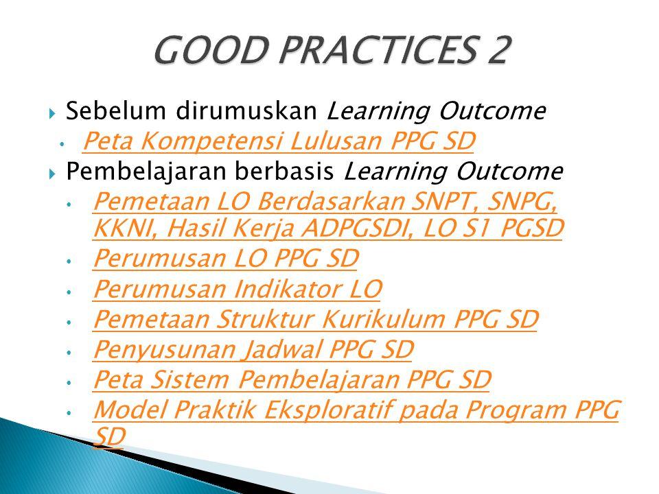  Sebelum dirumuskan Learning Outcome Peta Kompetensi Lulusan PPG SD  Pembelajaran berbasis Learning Outcome Pemetaan LO Berdasarkan SNPT, SNPG, KKNI