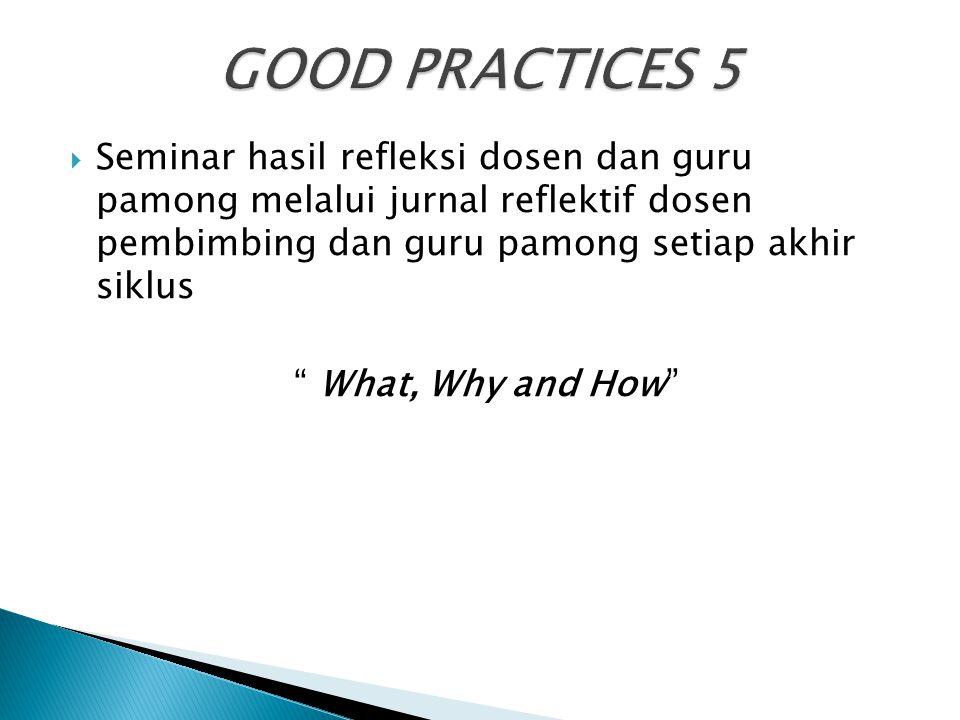 """ Seminar hasil refleksi dosen dan guru pamong melalui jurnal reflektif dosen pembimbing dan guru pamong setiap akhir siklus """" What, Why and How"""""""