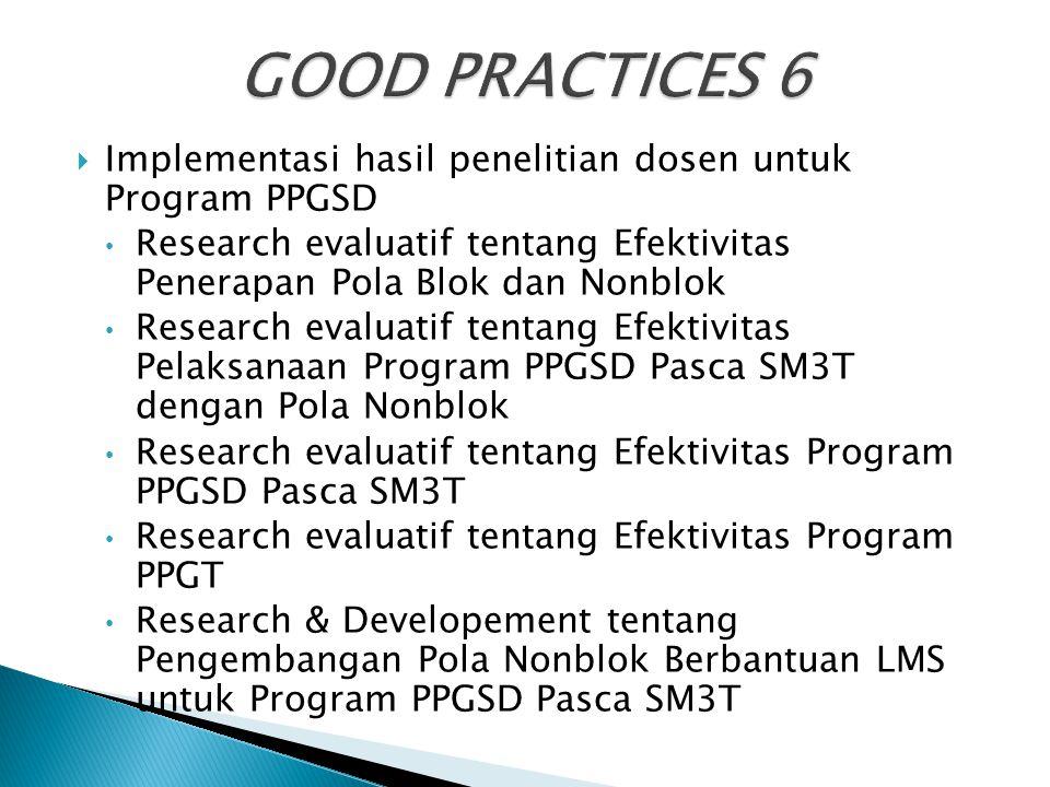  Implementasi hasil penelitian dosen untuk Program PPGSD Research evaluatif tentang Efektivitas Penerapan Pola Blok dan Nonblok Research evaluatif te