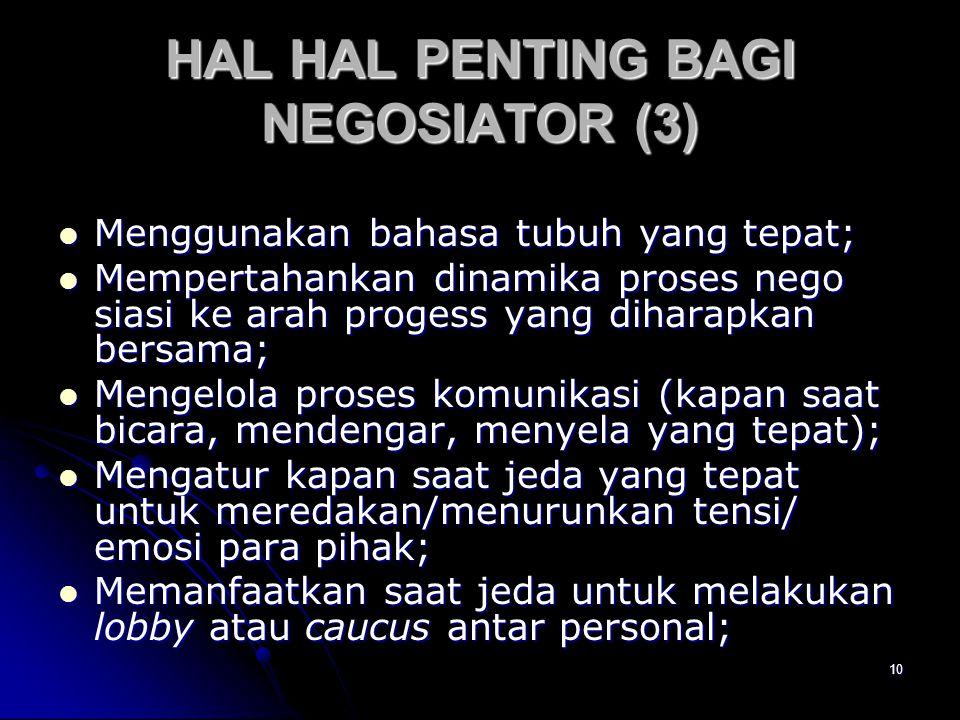 10 HAL HAL PENTING BAGI NEGOSIATOR (3) Menggunakan bahasa tubuh yang tepat; Menggunakan bahasa tubuh yang tepat; Mempertahankan dinamika proses nego s