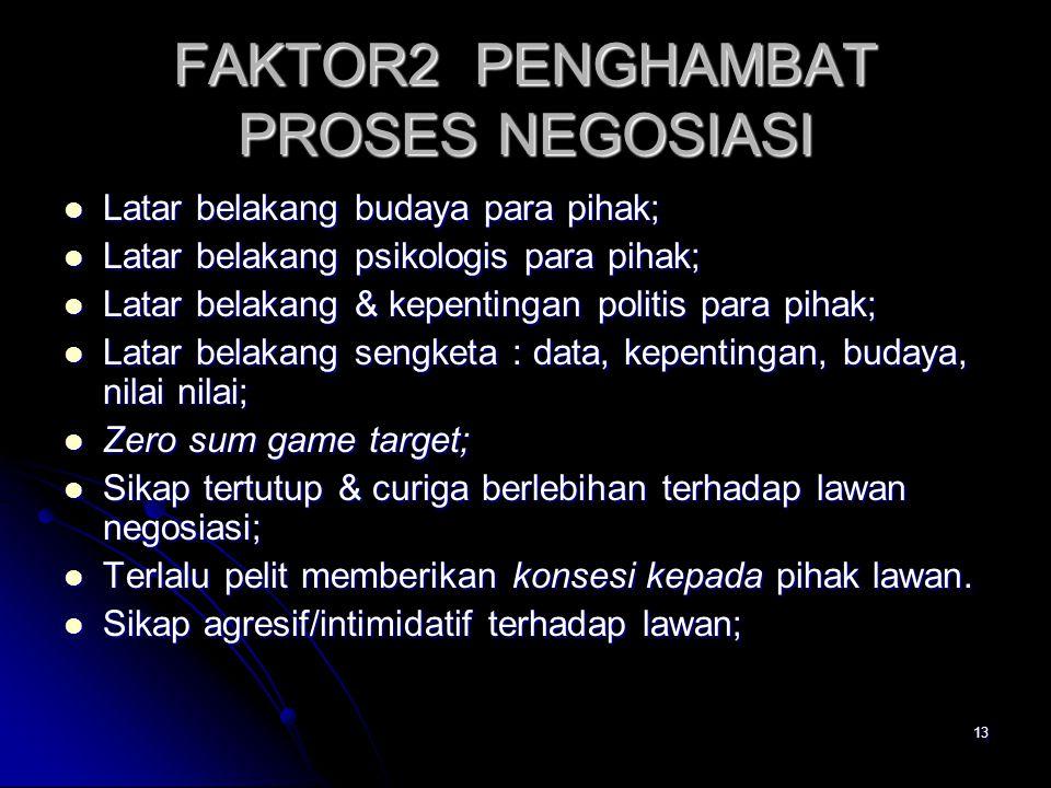 13 FAKTOR2 PENGHAMBAT PROSES NEGOSIASI Latar belakang budaya para pihak; Latar belakang budaya para pihak; Latar belakang psikologis para pihak; Latar
