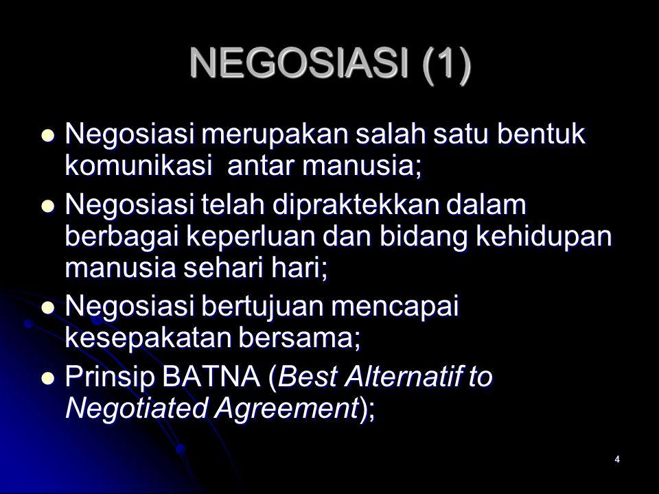 4 NEGOSIASI (1) Negosiasi merupakan salah satu bentuk komunikasi antar manusia; Negosiasi merupakan salah satu bentuk komunikasi antar manusia; Negosi