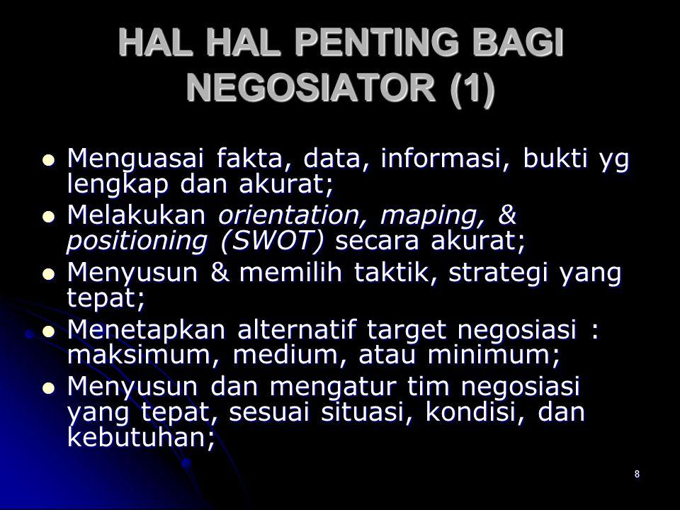 9 HAL HAL PENTING BAGI NEGOSIATOR (2) > Menetapkan waktu, tempat, desain, & fokus negosiasi yang tepat; > Memasuki proses negosiasi dengan sikap self confidence & open mind .