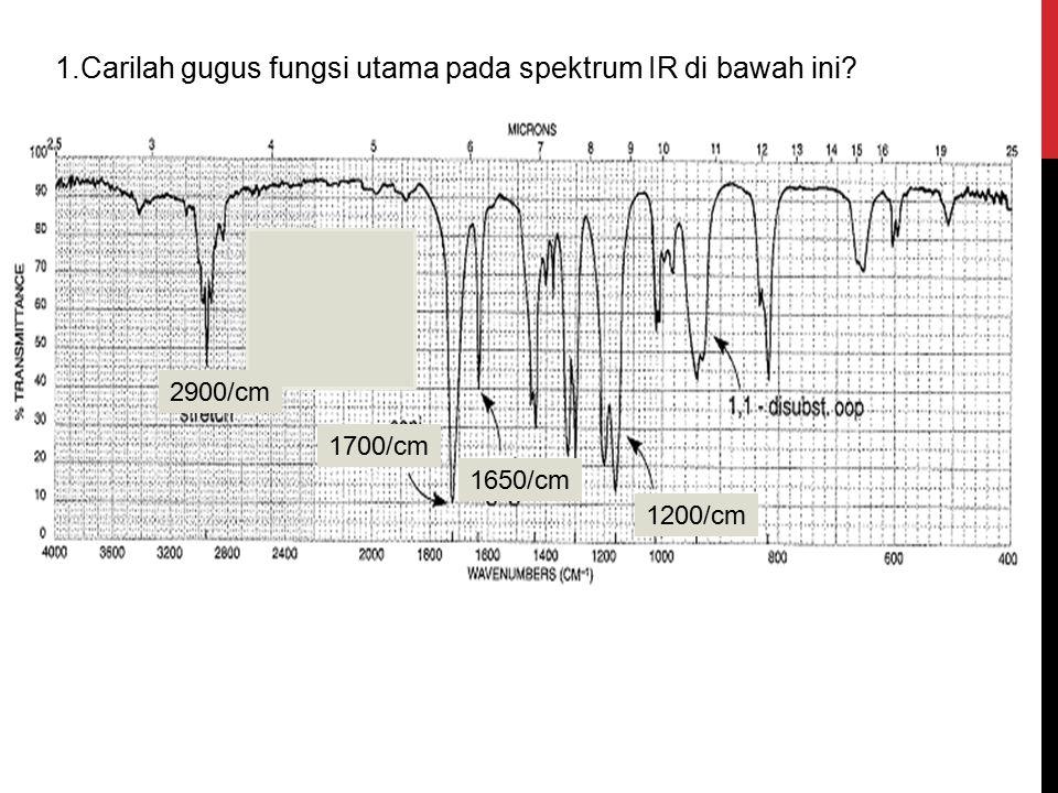 2900/cm 1700/cm 1650/cm 1200/cm 1.Carilah gugus fungsi utama pada spektrum IR di bawah ini?