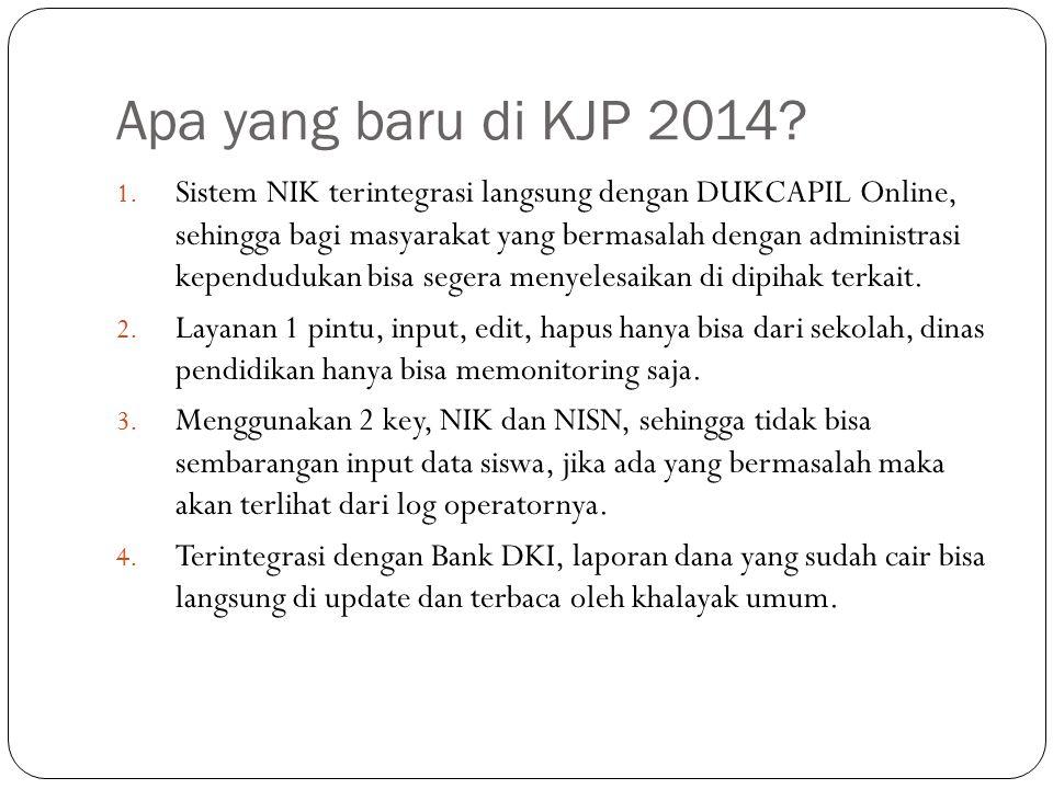 Apa yang baru di KJP 2014? 1. Sistem NIK terintegrasi langsung dengan DUKCAPIL Online, sehingga bagi masyarakat yang bermasalah dengan administrasi ke