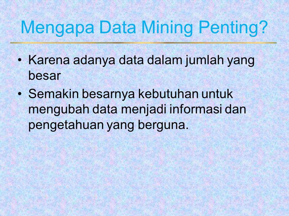 Mengapa Data Mining Penting? Karena adanya data dalam jumlah yang besar Semakin besarnya kebutuhan untuk mengubah data menjadi informasi dan pengetahu