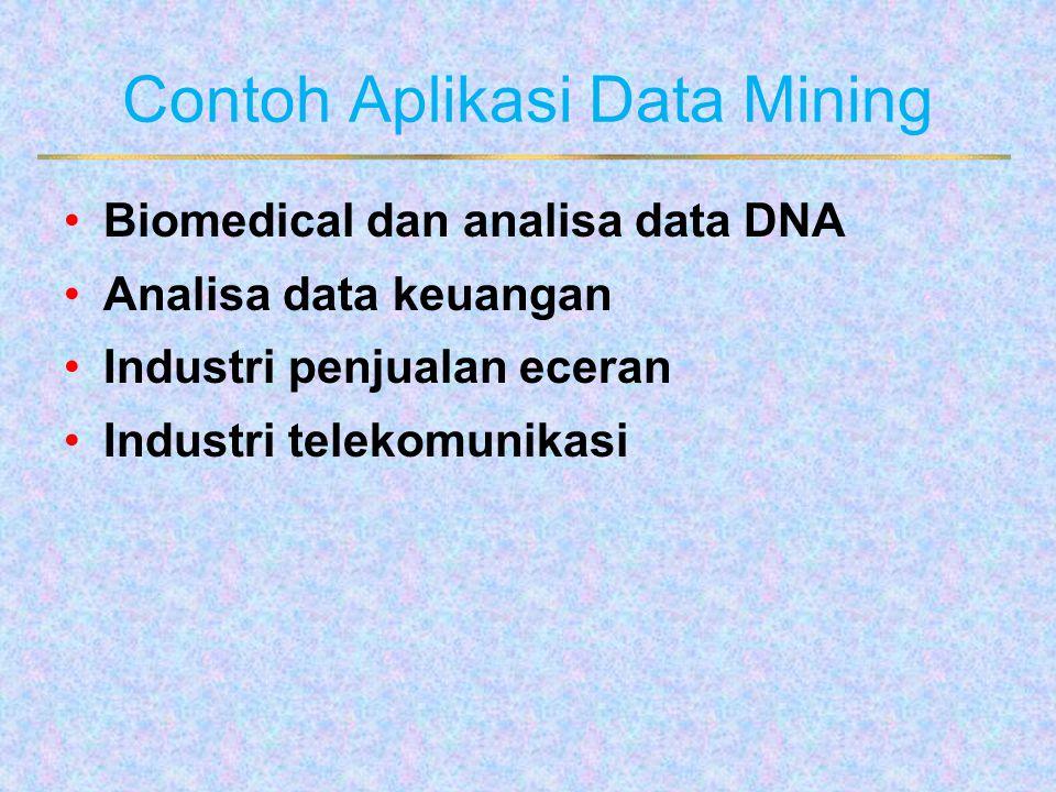 Contoh Aplikasi Data Mining Biomedical dan analisa data DNA Analisa data keuangan Industri penjualan eceran Industri telekomunikasi