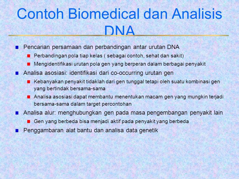 Contoh Biomedical dan Analisis DNA Pencarian persamaan dan perbandingan antar urutan DNA Perbandingan pola tiap kelas ( sebagai contoh, sehat dan saki