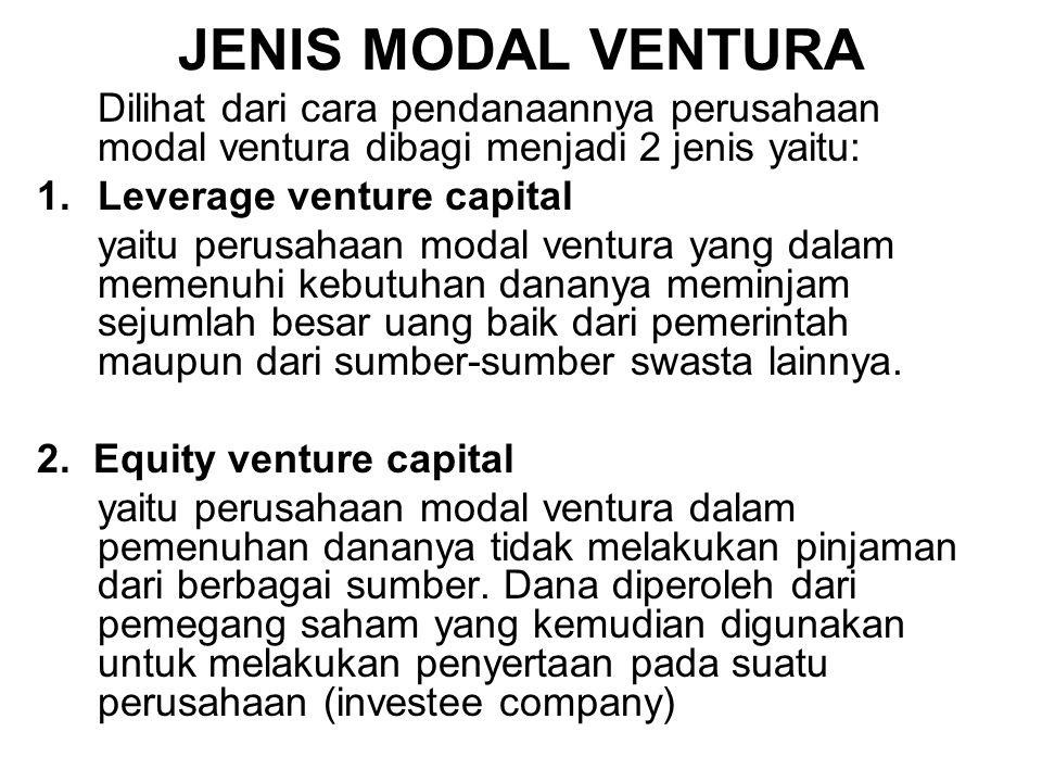 JENIS MODAL VENTURA Dilihat dari cara pendanaannya perusahaan modal ventura dibagi menjadi 2 jenis yaitu: 1.Leverage venture capital yaitu perusahaan