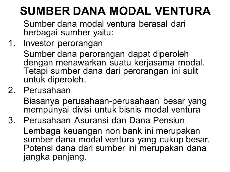 SUMBER DANA MODAL VENTURA Sumber dana modal ventura berasal dari berbagai sumber yaitu: 1.Investor perorangan Sumber dana perorangan dapat diperoleh d