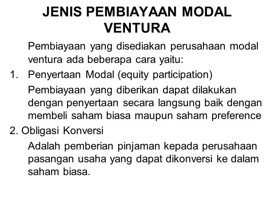 JENIS PEMBIAYAAN MODAL VENTURA Pembiayaan yang disediakan perusahaan modal ventura ada beberapa cara yaitu: 1.Penyertaan Modal (equity participation)