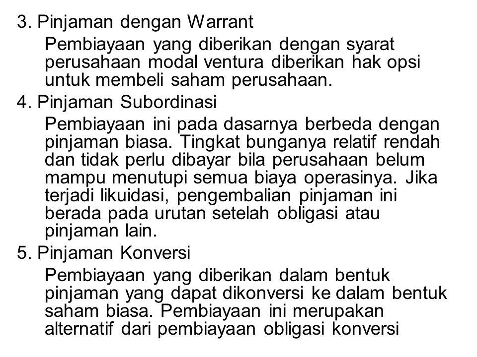 3. Pinjaman dengan Warrant Pembiayaan yang diberikan dengan syarat perusahaan modal ventura diberikan hak opsi untuk membeli saham perusahaan. 4. Pinj