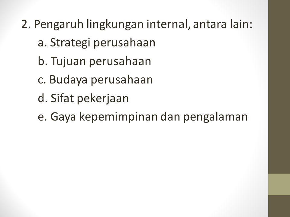 2. Pengaruh lingkungan internal, antara lain: a. Strategi perusahaan b. Tujuan perusahaan c. Budaya perusahaan d. Sifat pekerjaan e. Gaya kepemimpinan