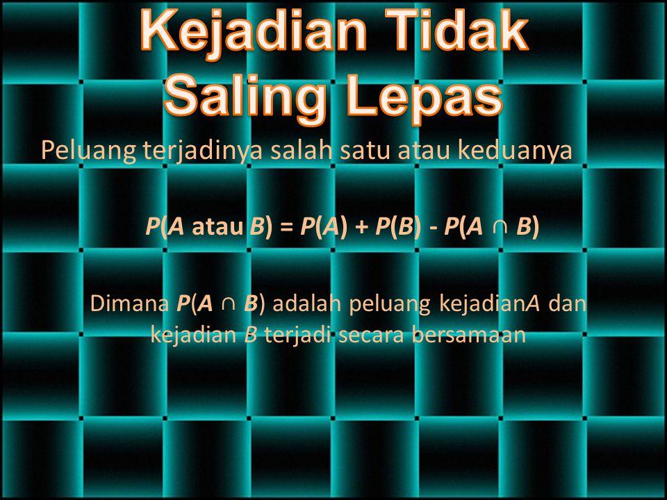 Peluang terjadinya salah satu atau keduanya P(A atau B) = P(A) + P(B) - P(A ∩ B) Dimana P(A ∩ B) adalah peluang kejadianA dan kejadian B terjadi secar