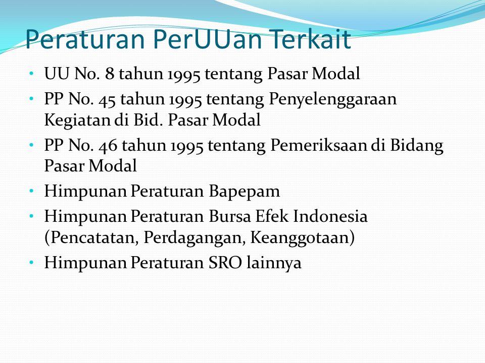 Peraturan PerUUan Terkait UU No.8 tahun 1995 tentang Pasar Modal PP No.