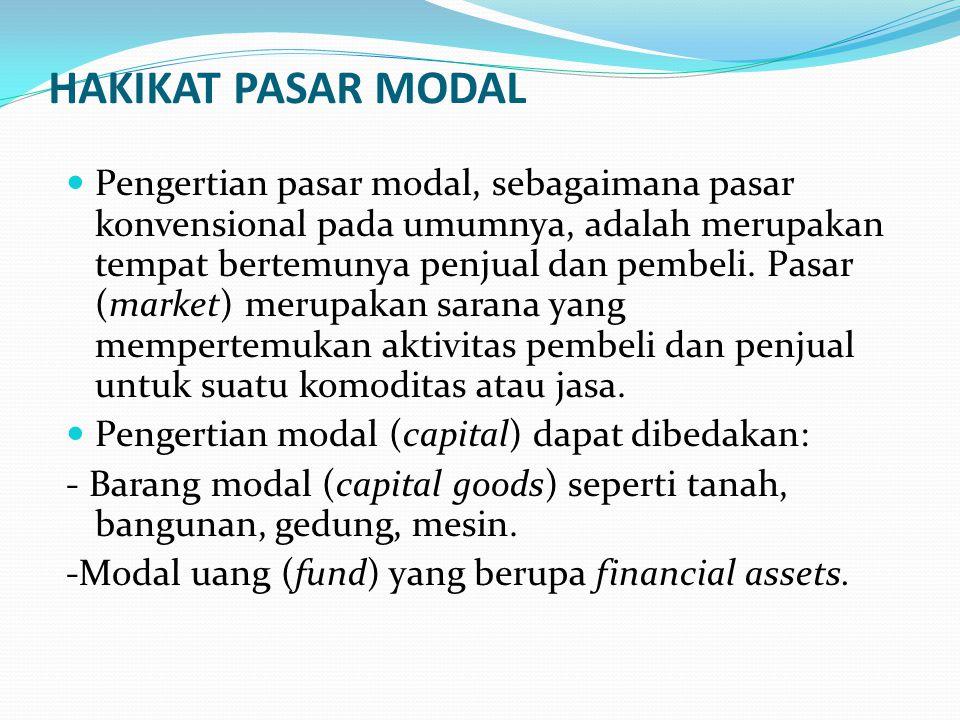 HAKIKAT PASAR MODAL Pengertian pasar modal, sebagaimana pasar konvensional pada umumnya, adalah merupakan tempat bertemunya penjual dan pembeli.