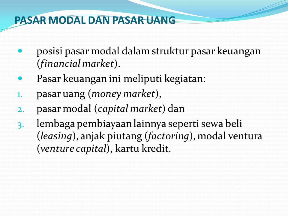 PASAR MODAL DAN PASAR UANG posisi pasar modal dalam struktur pasar keuangan (financial market).